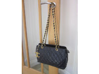 4f4b52179256 GENUINE VINTAGE CHANEL BAG NAVY LAMBSKIN QUILTED LEATHER