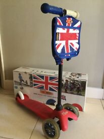 Micro Mini Micro Scooter (in red) with Union Jack Bag (excellent condition)