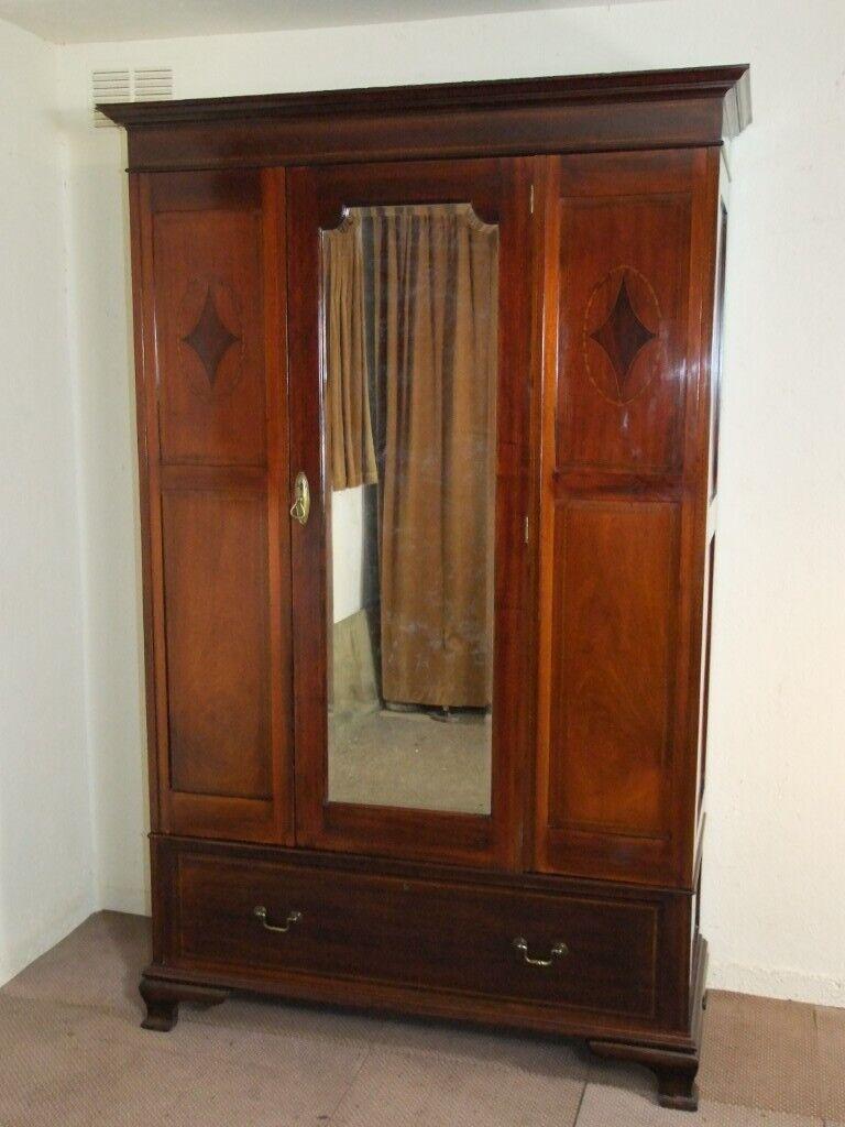4 Inlaid Mahogany Large Antique Edwardian Wardrobe Free