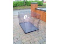 Large indoor pets at home Dog crate flod flat with bed tray