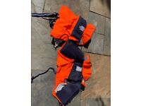 We have 2 buoyancy aids 15-30kg and 2 adult buoyancy aids to sell