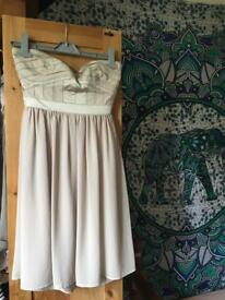 Neutral/nude coloured prom dress, size 8