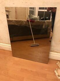 Glass mirror - plain - removed from old large fitted wardrobes