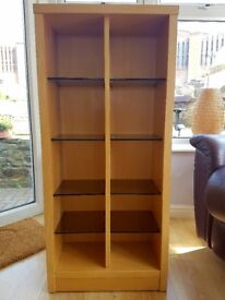Modern good quality wooden shelving unit with 8 adjustable glass shelves