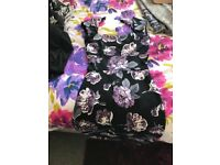 Ladies black purple flower bodycon dress size 8