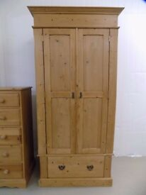Solid Pine Wardrobe With Deep Drawer