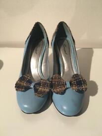 Tartan Blue Heels Size 5