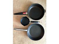 3 x Non-Stick Pans: 26cm Woll Saute Pan, 28cm Ikea Fry Pan & 14cm Meyer Milk Pan
