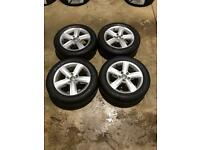 """Set of 16"""" genuine Vw alloy wheels and tyres"""