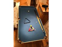 Half size pool table with balls and cues