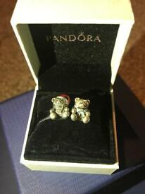 Pandora Charms - blue bow teddy only, Christmas teddy sold