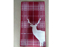Red Stag Deer Tartan Check Rug Soft Short Pile - 60 X 110CM - New