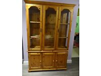 Pine 3 door sideboard and display cabinet.