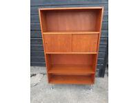Vintage retro Danish teak wooden mid century 60s 70s book case shelves cabinet storage unit