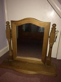 Wooden vanity unit mirror