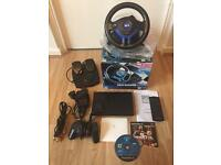 Slim PS2 with steering wheel and pedals