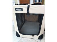 Soft-sided dog crate, for home or travelling. Folds for storage.