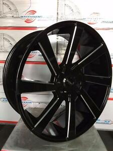 24 inch GLOSS BLACK AND MILLED!! Wheels with NEW TIRES! 5 bolt DODGE RAM