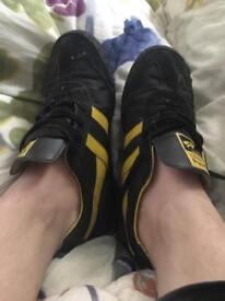 Well worn black trainers shoes size 8