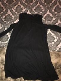 Black lace up cold shoulder dress size 16