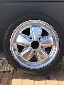 "SSP Porsche VW Fuchs / Fooks Polished Alloy wheel 5/130 15""x4.5"" as new inc tyre 165/50 R15 Formoza"