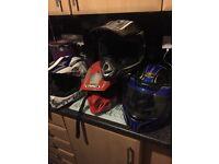 MOTOCROSS helmets.. 2 youths, 2 adults..