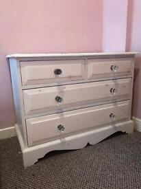Shabby chic white 5 drawer chest with crystal knobs