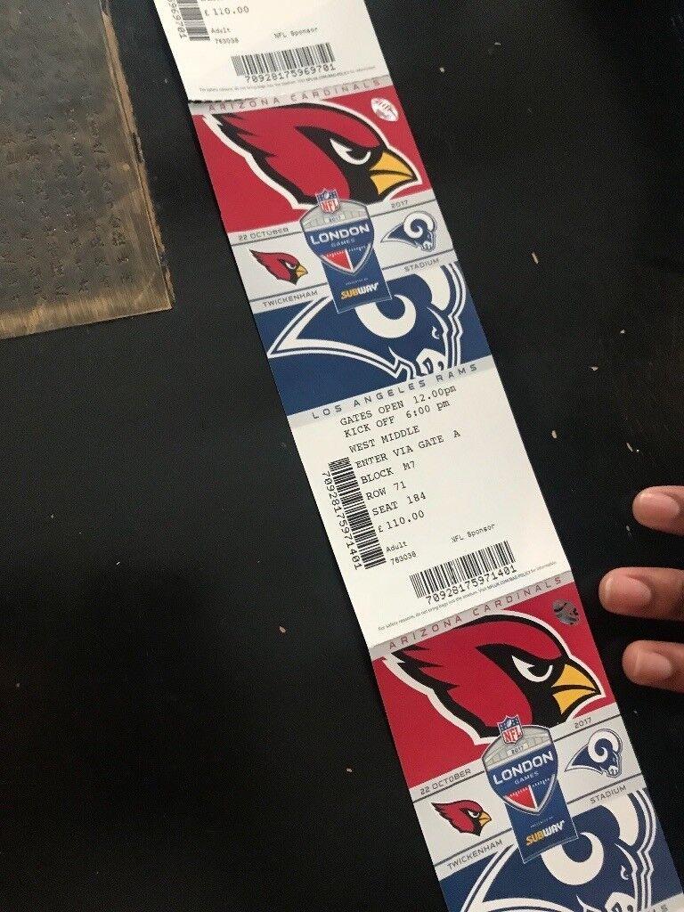 4 x NFL LA rams vs ARIZONA Cardinals tickets 22.10.17