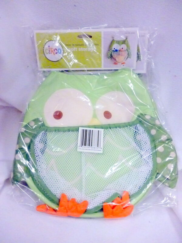 NIP SET OF 2 GREEN OWL CIRCO SOFT STORAGE SUCTION MESH BATHROOM LARGE