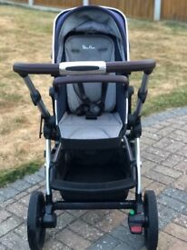 Silver Cross Wave Single/Double Pram Package Midnight Blue Frame Used 4 Months Excellent Condition