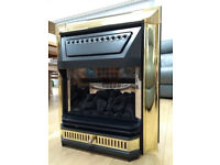 Valor Edwardian style coal effect gas fire, brass finish, with manuals