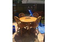 Solid Wood Drop Leaf Table And 4 x Solid Wood Chairs... ** DELIVERY AVAILABLE **