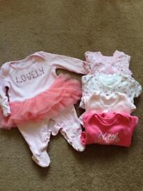 Baby girl 0-3 Pink sleepsuit set