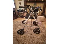 Rollator 4 wheel walking mobility aid with seat and brakes