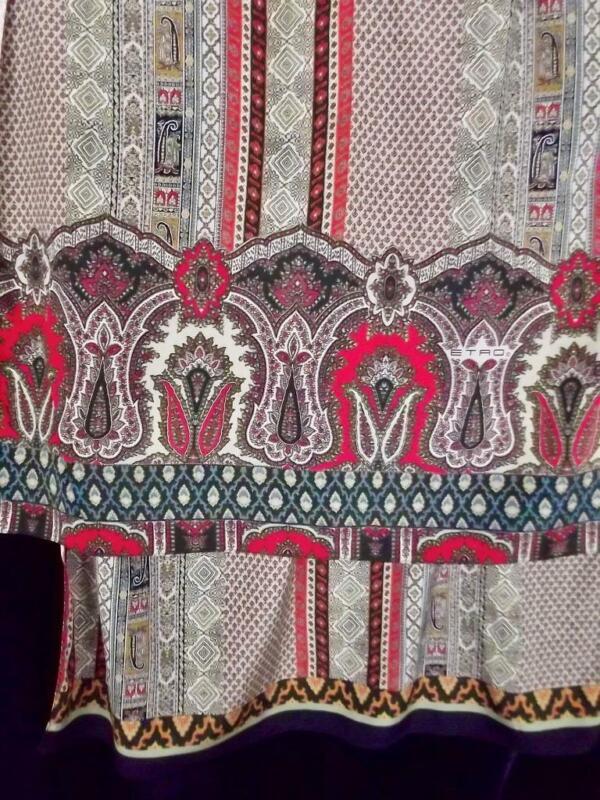 "Vintage ETRO Paisley Silk Large 24x78"" Scarf Gray Orange Geometric Boho Pattern"