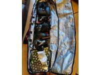 Snowboard kit; board, bindings, bag, boots and googles
