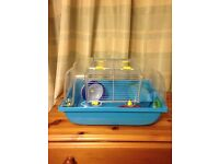 Blue Hamster/Gerbil/Mouse cage with Accessories Wheel, Food bowl and House. £10