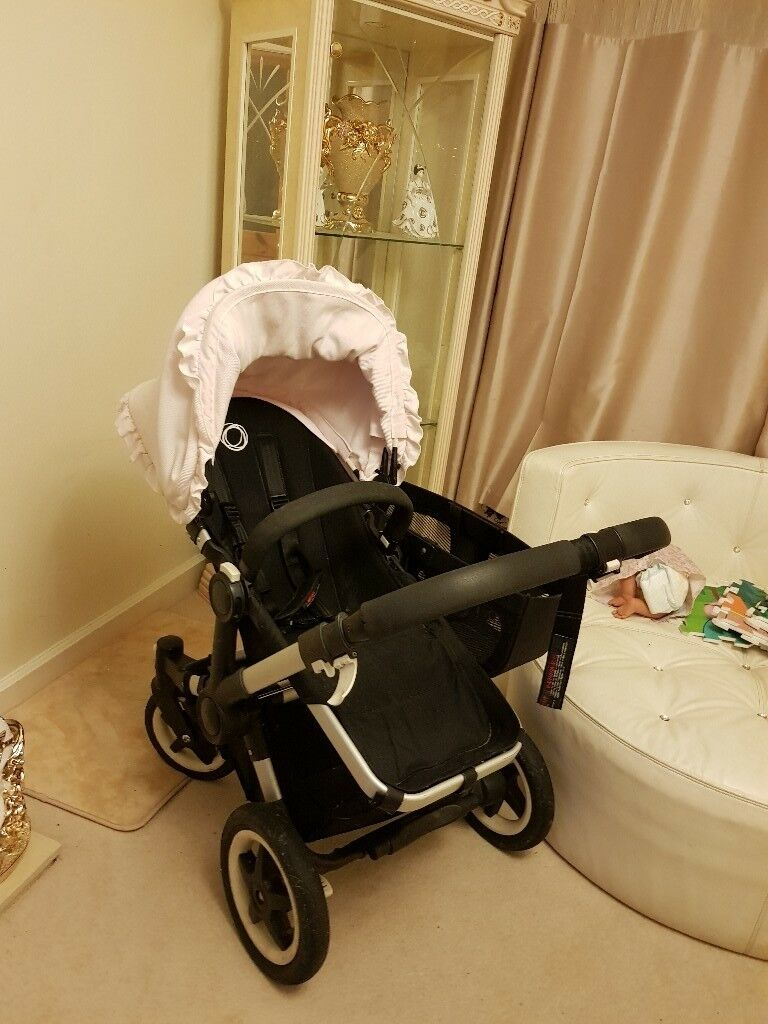 Bugaboo donkey duo pram with 2 seats and basket and custom made hoods