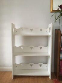 White (NEXT) Bookshelf free standing suitable for children's room, Heart Shapes