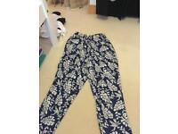 Floral blue trousers from misguided