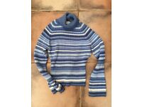 NEXT Ladies Jumper. Size 14. Lovely blue/white stripe mix design with flowing sleeves. VGC. £3