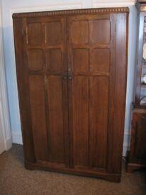 Vintage Oak Two Door Wardrobe Mid Century
