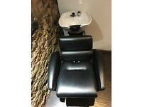 Salon/barber chair + sink, great condition, nearly new.