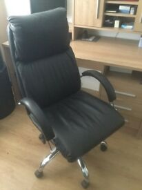 Black faux leather desk chair