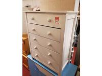 scandinavia 5 drawer chest white