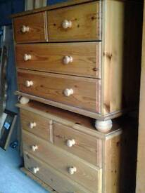 Pine 2 over 2 Chest of Drawers (2 available)