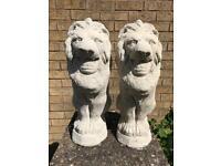 Pair of Huge Stone Lion Garden Ornaments