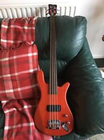 Warwick 4 string fretless bass guitar
