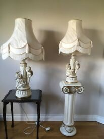 Beautiful cream and gold lamps One larger table lamp one with pedestal £25each