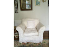 3 piece Suite, white in good condition 2 X 3 seater sofas. 1 arm chair